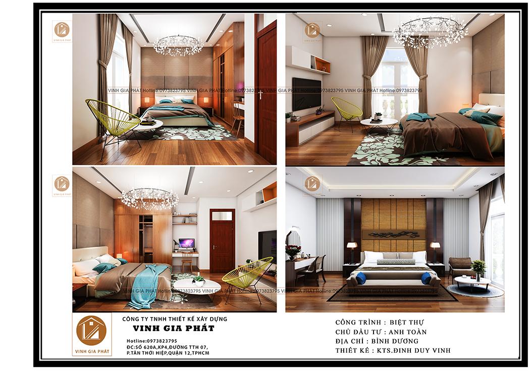 Nội thất phòng ngủ biệt thự mái thái 3 tầng