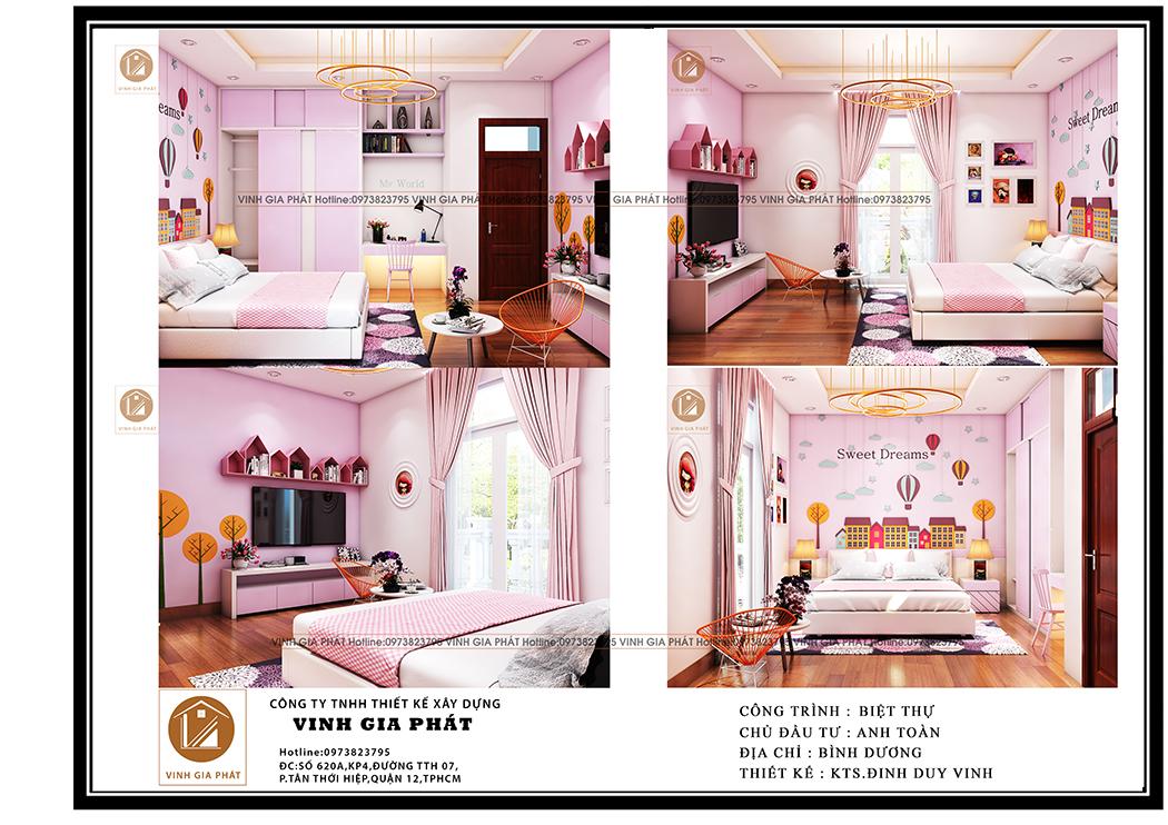 Nội thất phòng ngủ biệt thự tân cổ điển mái thái 3 tầng